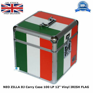 NEO-ZILLA-Flight-DJ-Carry-Case-to-Store-100-LP-12-034-Vinyl-Record-IRISH-FLAG-NEW