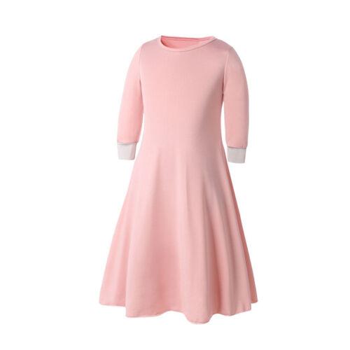 Muslim Girls Prayer Long Maxi Dress Hijab Set Kaftan Arab Kids Islamic Abaya @