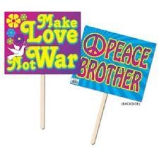 """60's Yard Sign Party Decoration - 1960 Hippy Lawn Signs Peace and love 12"""" x 15"""""""