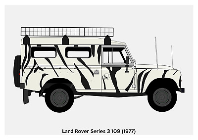 A4, A3, A2 Size - Choose Design LAND ROVER SERIES 2 Car Silhouette POSTER