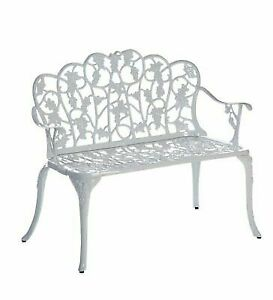 Strange Plow Hearth 34526 Wh Grapevine Outdoor Garden Bench White Machost Co Dining Chair Design Ideas Machostcouk