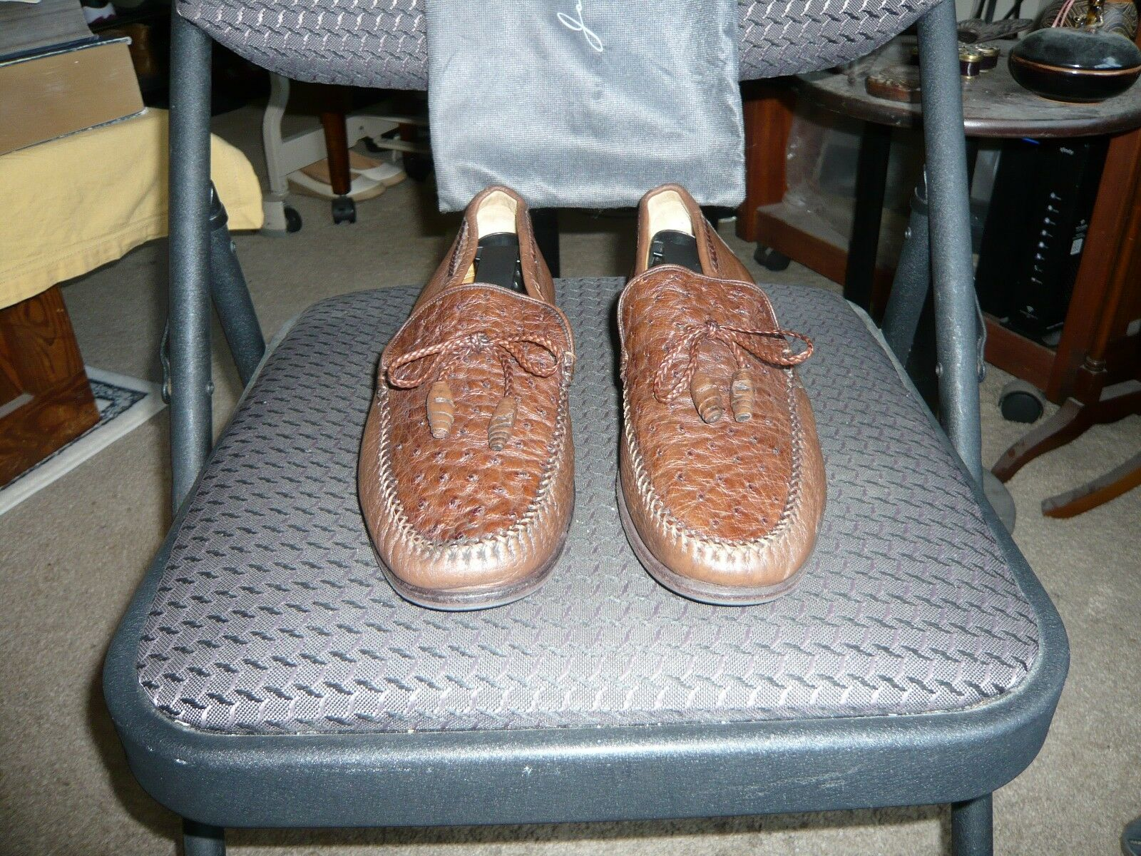 Johnston & Murphy marrón de piel de becerro Avestruz Cuero Mocasín, tamaño que nos 7 (8) con B