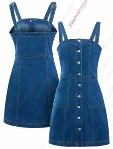 Womens-Denim-Dress-Sleeveless-Pinafore-Dresses-Size-8-10-12-14-Blue