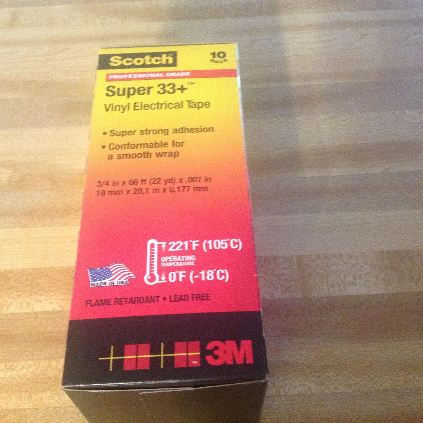 Vinyl Electrical Tape Pack of 10 Rolls Scotch Super 33 3//4 x 44 ft