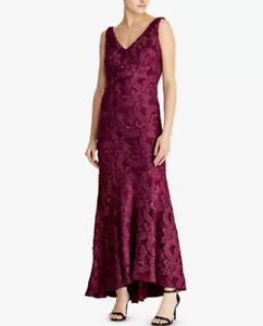 Lauren Ralph Lauren Lace Fit & Flare Gown MSRP  Größe 10 A 719 NEW