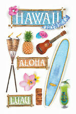 PAPER HOUSE HAWAII TRAVEL VACATION BEACH DIMENSIONAL 3D SCRAPBOOK STICKERS