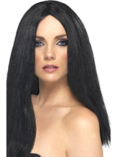 Star Style Wig, Black, 44cm / 17in Long, Straight (UK IMPORT) COST-ACC NEW