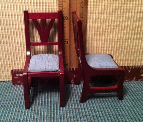 dollhouse miniatures 1:12 Town Square Mahogany Blue Cloth Set Of 2 Chairs