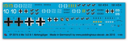 Peddinghaus 2074 1//48 Beschriftungen für 6 Me 163 Raketenabfangjäger