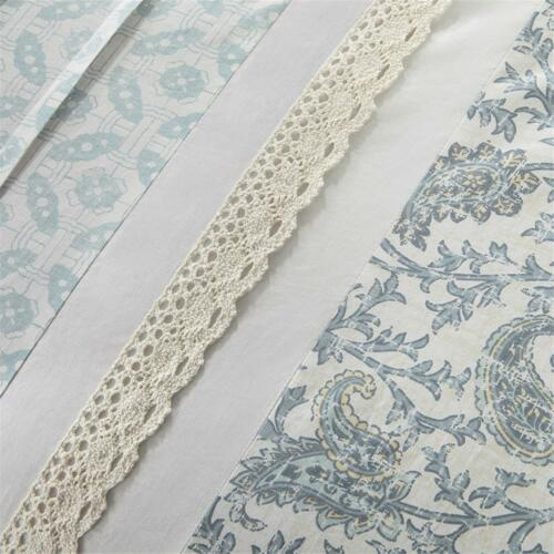 BEAUTIFUL CHIC COTTAGE BLUE WHITE GREEN COUNTRY SHABBY LACE RUFFLE COMFORTER SET