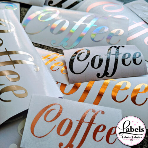 PERSONALISED METALLIC VINYL STICKER LABEL NAME FONT 3cm or 5cm UK HINCH LABELS