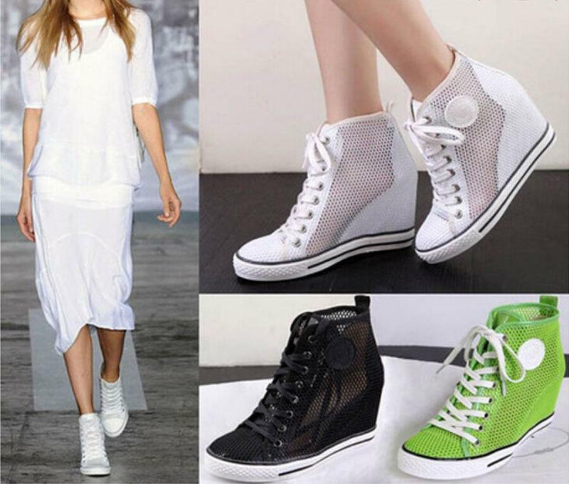 Women's Mesh Hidden Wedge Heel Lace Up Fashion Sneakers High Top Sneakers shoes