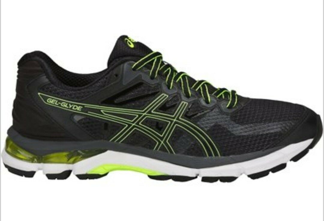 ASICS GEL GLYDE MENS BLACK SAFETY YELLOW RUNNING TRAINERS SIZE UK 8 EU 42.5