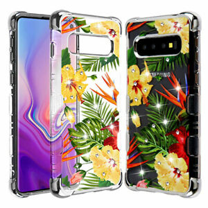 For Samsung Galaxy S10 Plus Silver Plating Hibiscus Flower Bling Case Cover Ebay