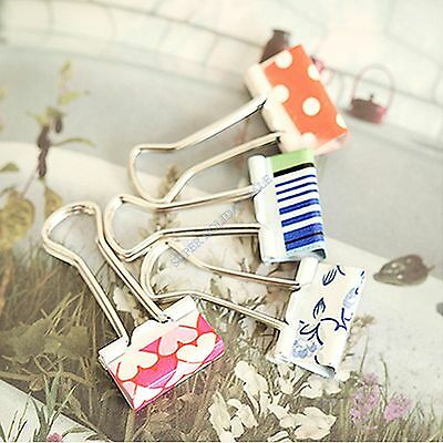 New Flower 19mm Width Office Metal Binder Clips File Paper Organizer 12/24 Pcs
