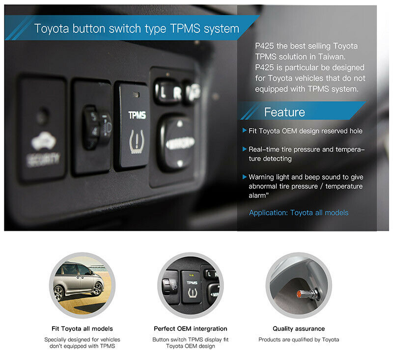 Details about Orange P425 Button Switch Type Real-Time TPMS System Fit  Toyota all Models MIT
