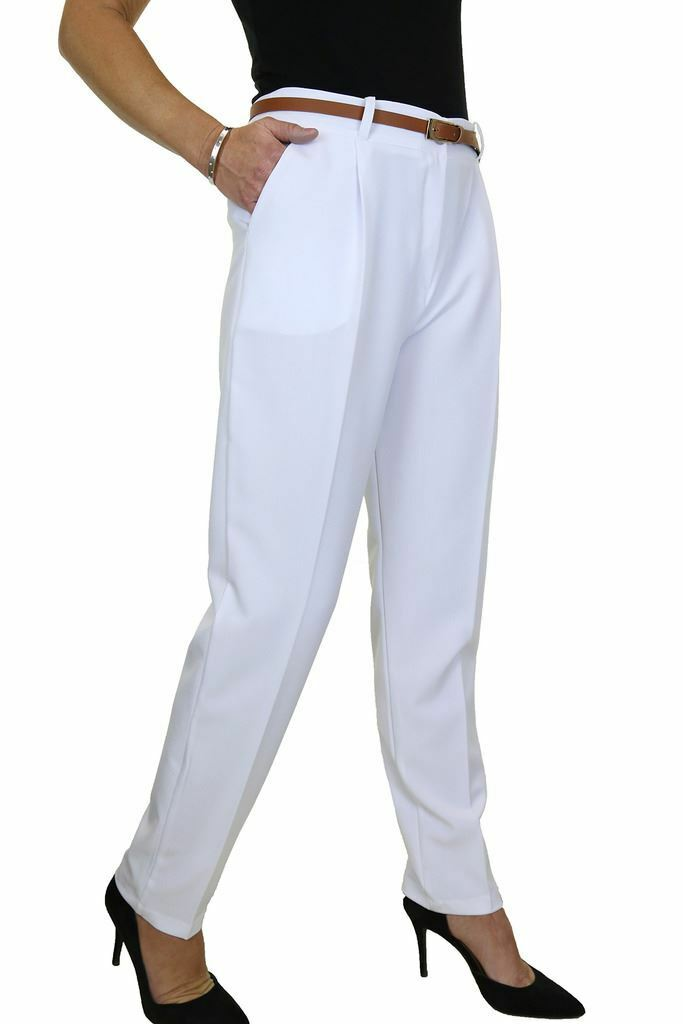 ICE 1539-5 Washable Smart Office Day Trousers FREE Belt White Size 8-22
