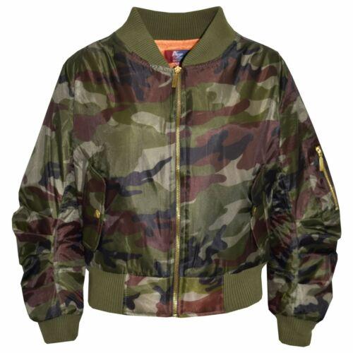 Kids Girls Boys Bomber Padded Zip Up Biker Front Button Pockets MA1 Coat Jacket