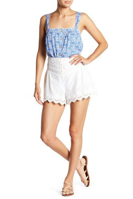 Free People Womens Sweet Like Candy OB782719 Shorts Eyelet Floral White Size XS