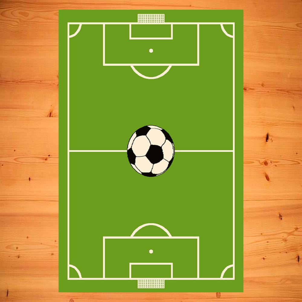 Kinderteppich Teppich Kinderzimmer Spielteppich Fußballfeld grün 5 Größen | Rabatt
