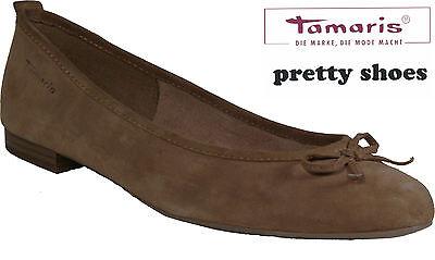 TAMARIS Schuhe Ballerinas beige echt Leder Nubuk Gummisohle NEU | eBay