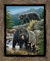 Black Bear Cool Waters Quilt Top Wall Panel Fabric Cotton Wildlife