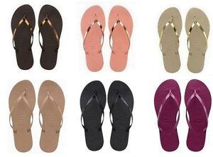 92ad5d484992 Image is loading Havaianas-Brazil-You-Metallic-Flip-Flops-Summer-Sandals-