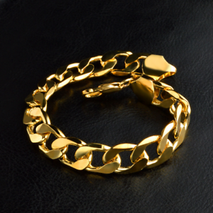 18K Luxury Men Gold Plated Wide Round Rings Bangle Chain Bracelet Jewelry 12MM