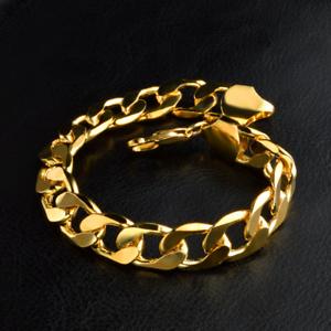 Fashion-Retro-Men-Women-18K-Gold-Plated-Wide-Rings-Chain-Bangle-Bracelet-12MM