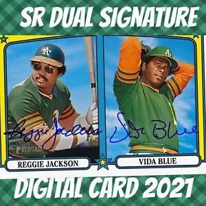 Topps Bunt 21 Reggie Jackson Vida Blue Heritage Dual Signature 2021 Digital Card