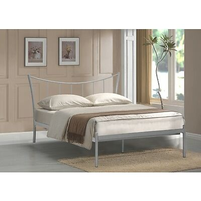 4FT6 DOUBLE METAL BED FRAME Silver ADELINA BED BEDROOM FURNITURE