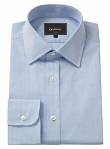 Uomo Polsino Camicia Puro Collo Classico Crombie Blu Herringbone Cotone Singolo d6TxTq07