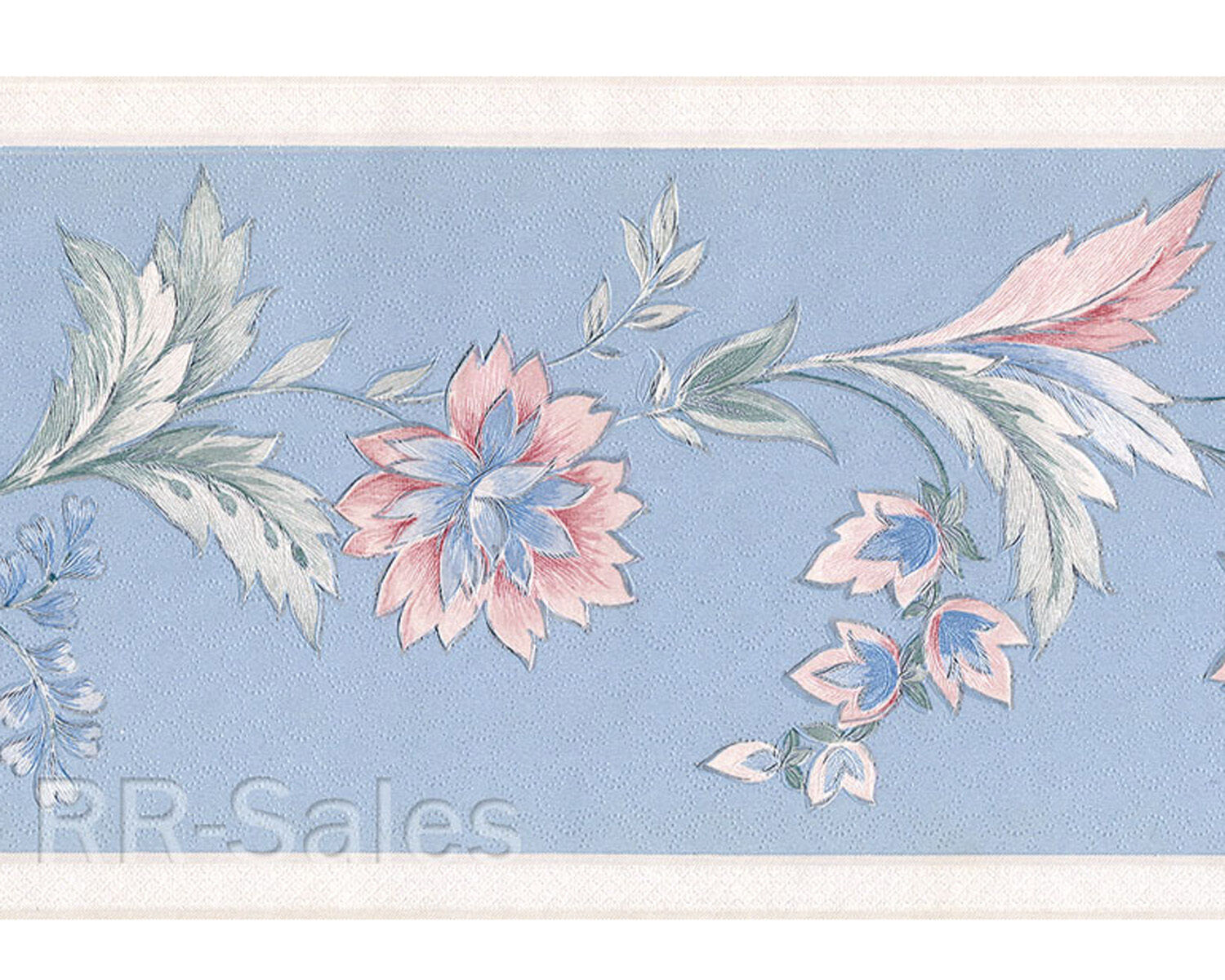 Light Blue Jacobean Flower Pink Floral Leaves Swirl Vtg Wallpaper