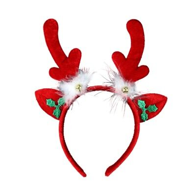 Christmas Festive Reindeer Antlers Alice Hair Band Headband and Red Nose Set