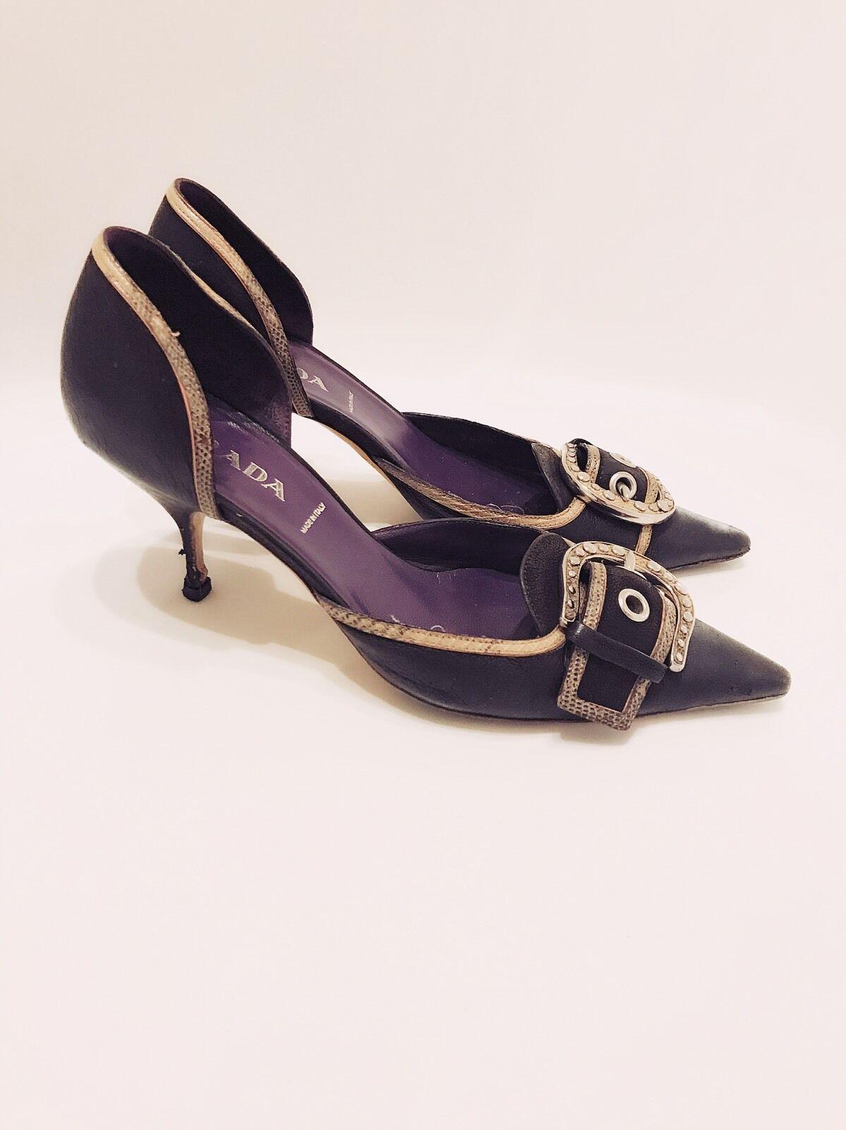 PRADA - Gold Lizard Trim Purple Toe Pelle Buckle Pointed Toe Purple D'Orsay Pumps 6.5 37 3ea380