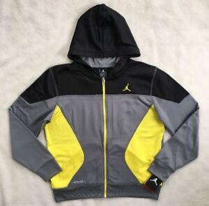 5252c1141cbc59 NIKE AIR JORDAN Boys Therma Hoodie Sweatshirt FZ Black Grey 952202 ...