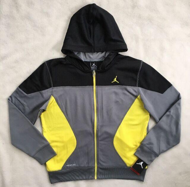 3ec3e64703cd28 NIKE AIR JORDAN Boys Therma Hoodie Sweatshirt FZ Black Grey 952202 NWT  75  LARGE