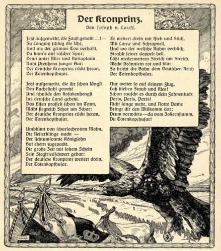 AUGUST 1914 Patriotisches Gedicht Der Kronprinz Textdokument 1914