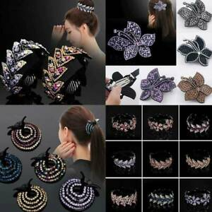 Women-Crystal-Rhinestone-Flower-Bun-Maker-Claw-Hair-Clip-Ponytail-Clamp-Hairpin