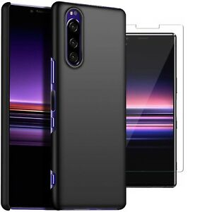 For-Sony-Xperia-5-Case-Slim-Hard-Cover-amp-Glass-Screen-Protector
