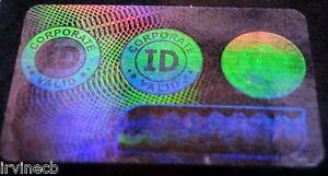 Hologram Overlays Corporate ID Overlay Inkjet Teslin ID Cards - Lot of 10