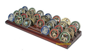 4-row Challenge Coin Display Stand Rack Solid Wood Walnut Finish