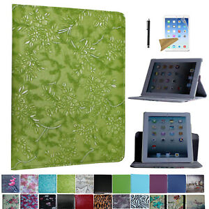 For iPad 4 2012 A1458 A1459 A1460 Rotating Case Cover With Screen Protector/ Pen