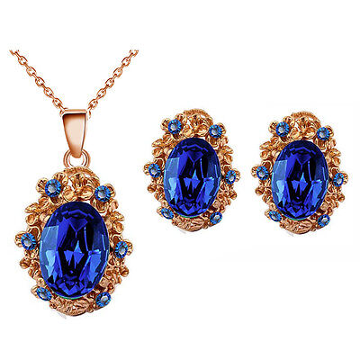 Vintage Style Sapphire Royal Blue Antique Gold Stud Earrings & Necklace Set S890