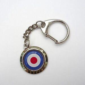 Retro-Style-MOD-Great-Britain-Roundel-Chrome-Keyring-Chain
