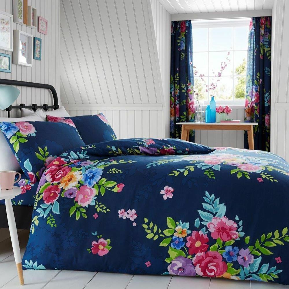 ALICE FLORAL DOUBLE DUVET COVER SET pinkS FLOWERS BEDDING - NAVY & PINK