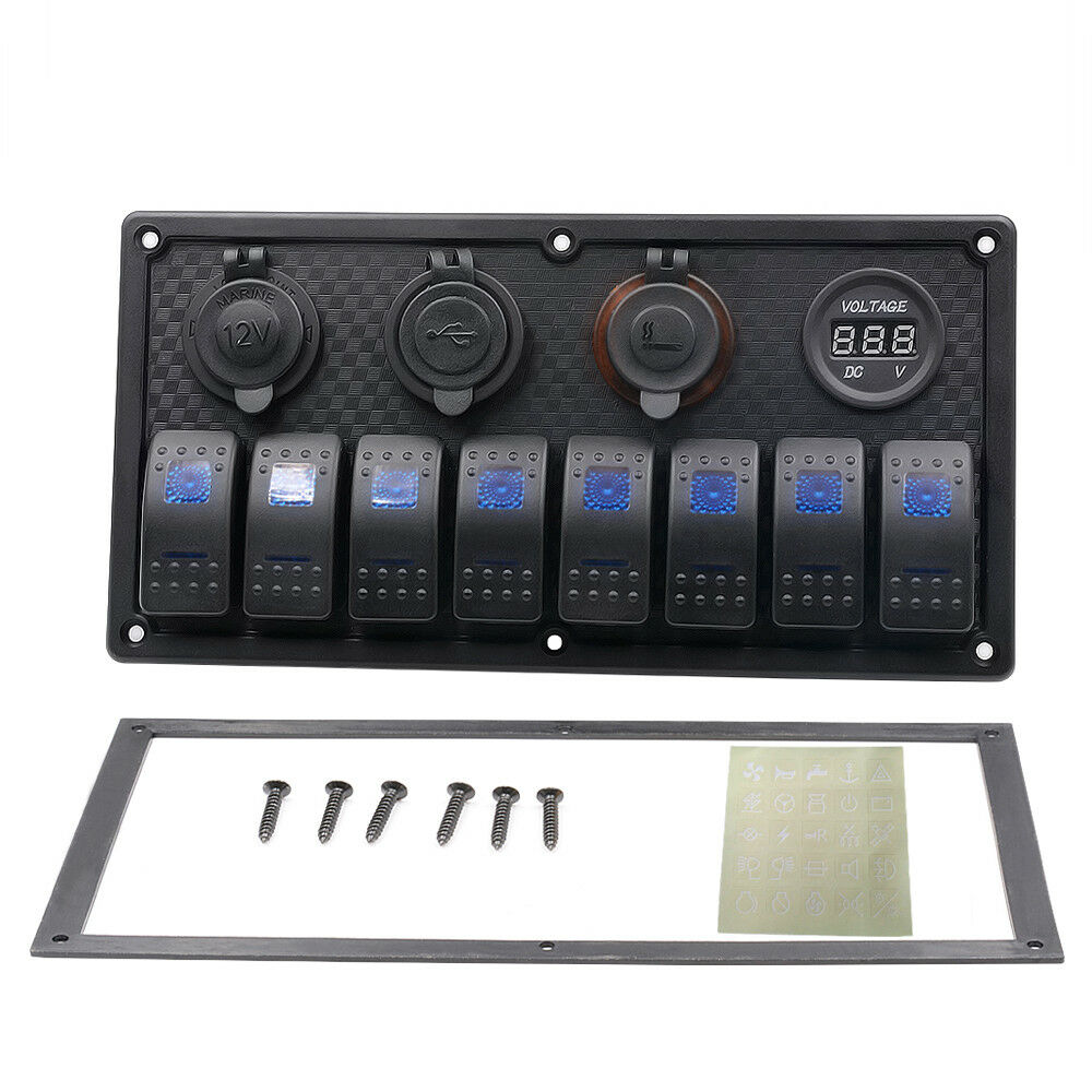 8Gang LED Schaltpanel Wippschalter Dual USB Ladegerät Voltmeter Schalttafel Schalttafel Voltmeter Stiefel e4a8e6
