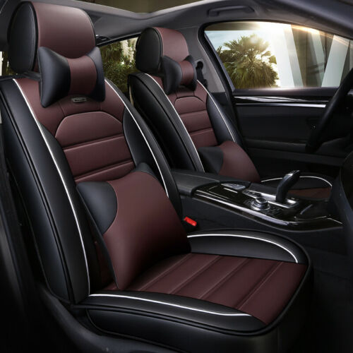 Car Seat Cover Full Set W// Headests+Cushions Deluxe PU Leather Coffee for SUV