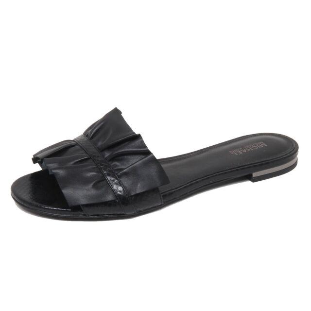 best service c60a2 43efd F0830 sandalo basso donna black MICHAEL KORS BELLA SLIDE scarpe shoe woman