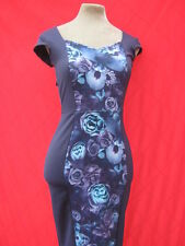 Navy Blue Purple Floral hourglass illusion wiggle dress 8 10 50s pinup Starlet